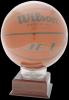 Allstar Basketball Holder on 2-1/8 Cherry Finish Base Basketball Trophy Awards
