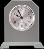 Clipped Corners Clear Glass Clock with Split Step Base Glass Clocks