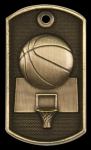3-D Basketball Dog Tag Medal 3-D Dog Tag Series