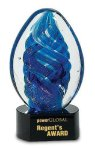 Blue Oval Swirl Art Glass Award Artistic Glass Awards