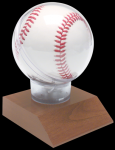Allstar Baseball Holder on Cherry Finish Base Baseball Display Case