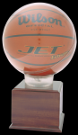 Allstar Basketball Holder With 5 Cherry Finish Base Basketball Awards
