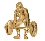 Gold Weightlifting Metal Chenille Letter Insignia Body Building Trophy Awards