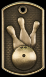 3-D Bowling Dog Tag Medal Bowling Trophy Awards