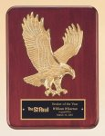 Rosewood Piano Finish Plaque with Gold Eagle Casting Cast Plaques
