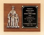 Police Award Casting on Walnut Plaque Cast Plaques
