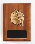 Walnut Piano Finish Fireman Plaque Cast Relief Plaques