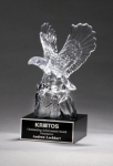 Crystal Eagle on Black Base Clear Optical Crystal Awards