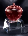 Crystal Red Apple On Base Clear Optical Crystal Awards