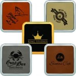Leatherette Square Coaster with Framed Edge Coasters