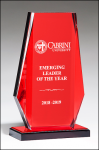 Clear Acrylic with Red Mirror Upright and Base Colored Acrylic Awards