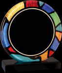 Round Stained Glass Acrylic with Black Base Corporate Acrylic Awards