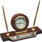 Rosewood Piano Finish Desk Clock W/Two Pens Desk Items & Desk Pen Sets