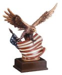 Eagle With Flag  Wing Span Eagle Resin Trophy Awards