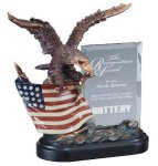 Eagle On Flag With Glass Eagle Resin Trophy Awards