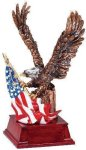 Eagle and Flag Copper With Cherry Base Eagle Resin Trophy Awards