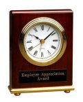Rosewood Piano Finish Rectangle Desk Clock Employee Awards