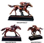 Horse And Jockey Action Pose Resin Equestrian Trophy Awards