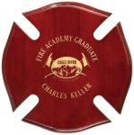 Rosewood Piano Finish Maltese Cross Plaque Firefighter Trophy Awards
