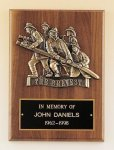 Fireman Plaque with Antique Bronze Finish Casting. Firefighter Trophy Awards