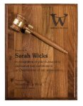 Walnut Gavel Plaque Award Gavel Plaques