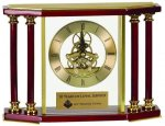 Executive 4 Pillar Rosewood Piano Finish Clock Glass Clocks