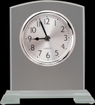 Square Arch Clear Glass Desk Clock with Split Step Base Glass Clocks