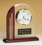 Arched Clock with Rosewood Piano Finish Post and Base Glass Clocks