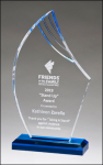 Flame Series Clear Acrylic With Blue Accents Mirrored Acryic Awards