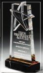 Lasered Star Accent On Base Mirrored Acryic Awards