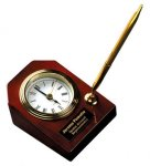Piano Finish Rosewood Desk Clock with Pen Pens and Pencils