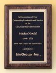 Walnut Stained Piano Finish Plaque with Brass Plate Piano Finish Plaques