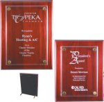 Rosewood Piano Finish Floating Plaque Rosewood Glass Awards