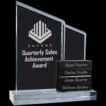 Crystal Perpetual Stand-up with Four Crystal Blocks Sales Awards
