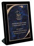 Piano Finish Black Stand Up Plaque with Victory Star Plate Sales Awards