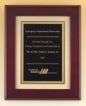 Rosewood Piano Finish Plaque with Florentine Plate Sales Awards