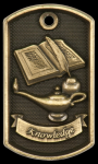 3-D Lamp Of Knowledge Dog Tag Medal Scholastic Trophy Awards