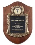 Walnut Cast Corporate Shield Plaque Shield Plaques