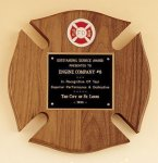 Maltese Cross Fireman Award Shield Plaques
