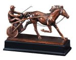 Race Horse and Sulky Signature Black Resin Trophy Awards