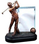 Golfer with Glass Signature Black Resin Trophy Awards