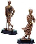 Old Fashion Golfer Signature Rosewood Resin Trophy Awards