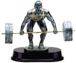 Weightlifting Dead Lift Resin Figure Signature Rosewood Resin Trophy Awards