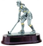Female Field Hockey Signature Rosewood Resin Trophy Awards