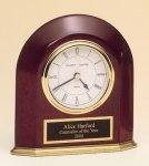 Rosewood Piano Finish Arched Desk Clock Solid Wood Clocks