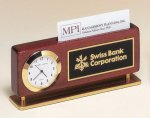 Rosewood Piano Finish Clock With Business Card Holder Solid Wood Clocks