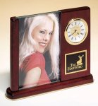 Rosewood Piano Finish Photo Desk Clock Solid Wood Clocks