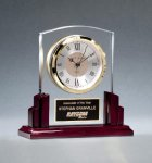 Glass Clock with Rosewood High Gloss Base Solid Wood Clocks