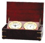 Clock and Thermometer in Rosewood Piano Finish Box Solid Wood Clocks