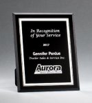 Black Glass Plaques with Silver Borders Square Rectangle Awards